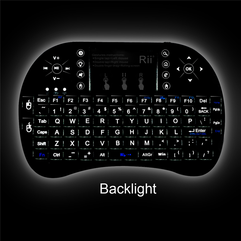 762e59067ee Genuine Rii Mini i8+ Backlit Rechargeable Wireless Keyboard Remote /w  Trackpad
